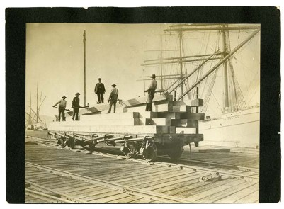 "[Loading ""Carmen"" Lumber Car, Long Wharf, Oakland, California, c"